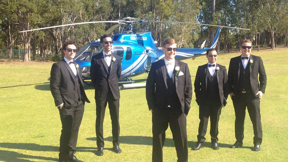 Helicopter hire wedding